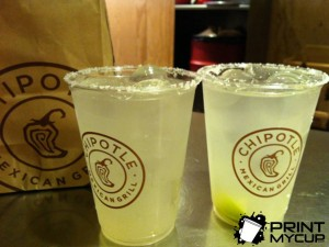 Chipotle Margaritas Custom Printed Clear Cups www.printmycup.com