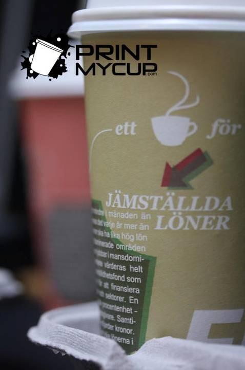 Creative Coffee Cup Design Feministiskt Initiativ 3 www.printmycup.com custom printed coffee cups